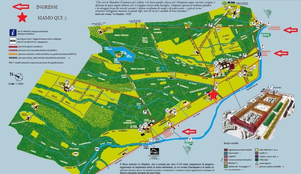 Mappa del parco dove è segnato il chiosco