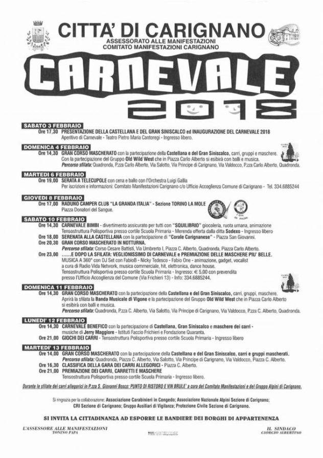locandina Carnevale Carignano 2018